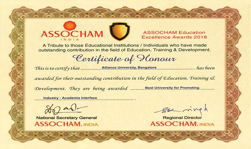 ASSOCHAM Education Excellence Awards 2018 for Industry - Academia Interface