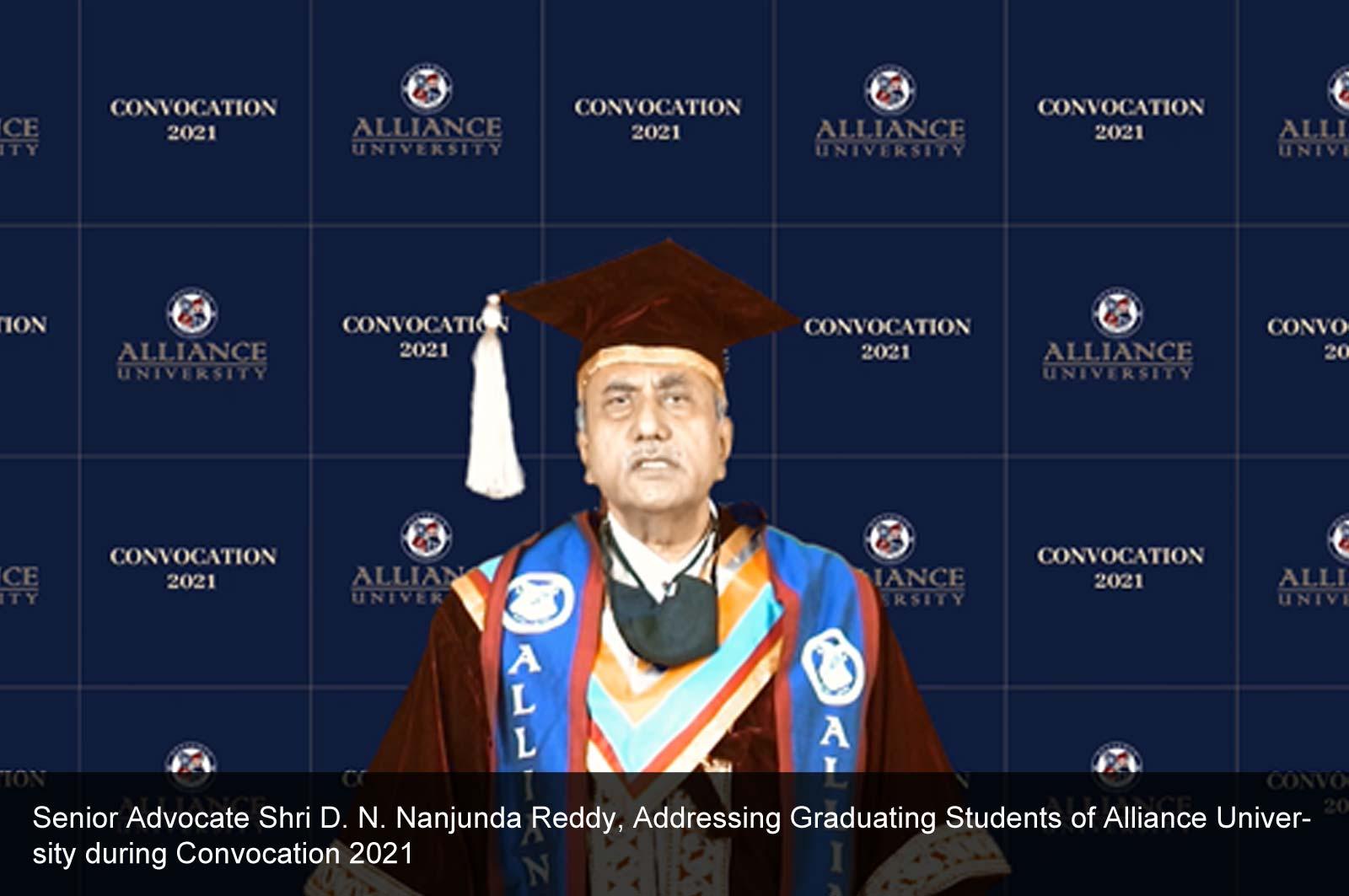 Convocation Address by Senior Advocate Shri D.N. Nanjunda Reddy on Convocation 2021
