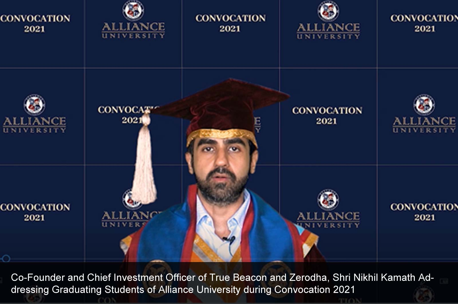 Co-Founder and Chief Investment Officer of True Beacon and Zerodha, Shri Nikhil Kamath, a Young and Dynamic Entrepreneur Addresses Graduating Students on Convocation 2021