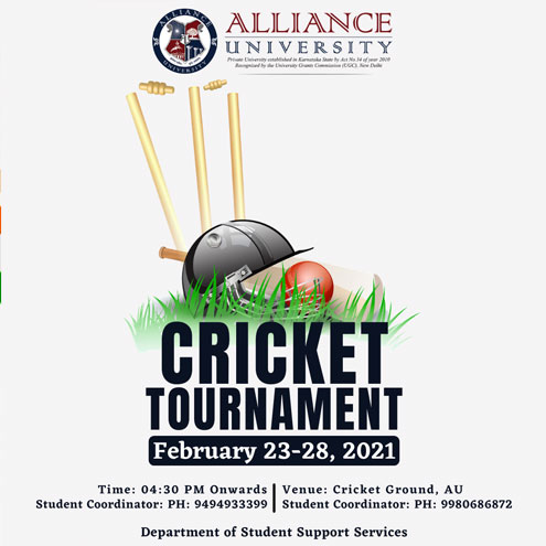 Cricket Tournament : 23rd – 28th February, 2021